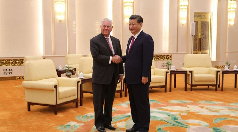 Secretary Tillerson meets with Chinese President Xi Jinping at the Great Hall of the People in Beijing, China on September 30, 2017. [State Department Photo/Public Domain]