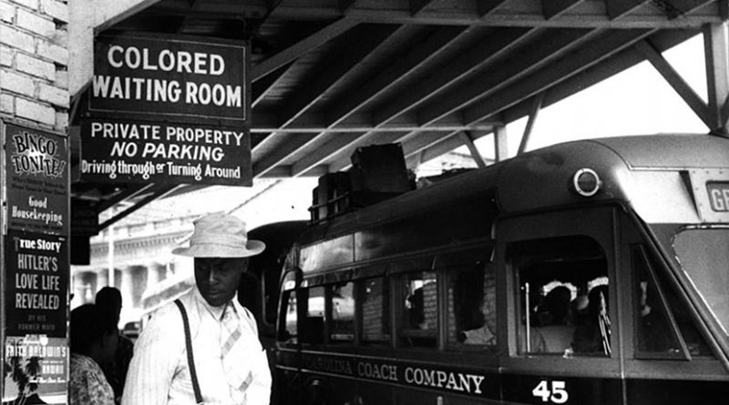 A bus station in Durham, North Carolina, in May 1940. Photo by Jack Delano, Wikipedia Commons.