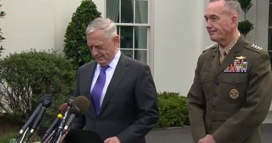 US Defense Secretary Jim Mattis, standing in front of the White House, with Marine Corps Gen. Joe Dunford, the chairman of the Joint Chiefs of Staff. Credit: Screenshot of DoD video.