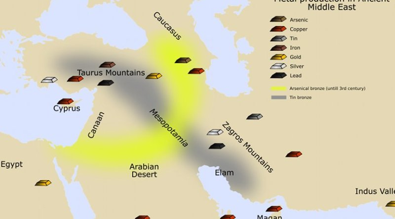 Mining areas of the ancient Middle East. Boxes colors: arsenic is in brown, copper in red, tin in grey, iron in reddish brown, gold in yellow, silver in white and lead in black. Yellow area stands for arsenic bronze, while grey area stands for tin bronze. Source: Wikipedia Commons.