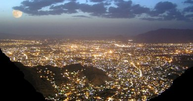Quetta, capital of Baluchistan, Pakistan, at night. Photo by Beluchistan, Wikimedia Commons.