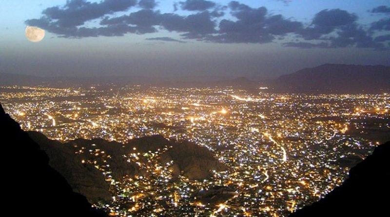 Quetta, capital of Baluchistan, Pakistan, at night. Photo by Beluchistan, Wikimedia Commons.