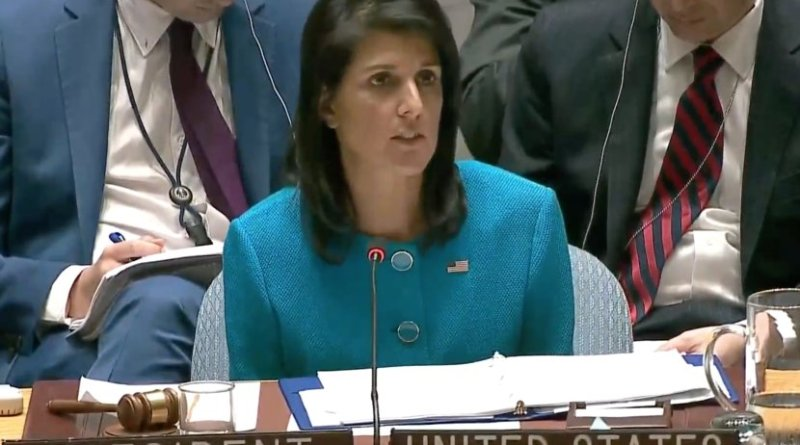 File photo of U.S. envoy to the United Nations Nikki Haley. Source: YouTube screenshot.