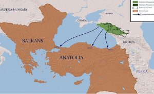 Map of the expulsion of Circassians to the Ottoman Empire. Source: Wikipedia Commons.