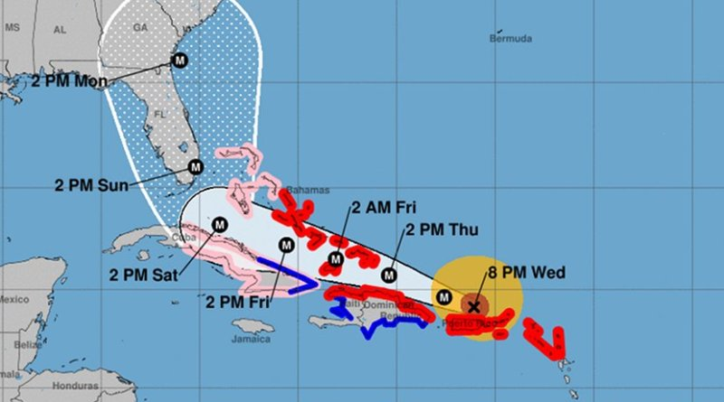 Actual and projected path of Hurricane Irma. Source: NOAA