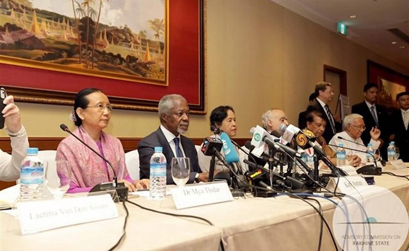 Kofi Annan (second from left) and Aung San Suu Kyi (right of Annan) introducing the report of the Advisory Commission on Rakhine State.