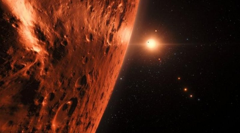 This artist's impression shows the view from the surface of one of the planets in the TRAPPIST-1 system. At least seven planets orbit this ultracool dwarf star 40 light-years from Earth and they are all roughly the same size as the Earth. Several of the planets are at the right distances from their star for liquid water to exist on the surfaces. Credit ESO/N. Bartmann/spaceengine.org