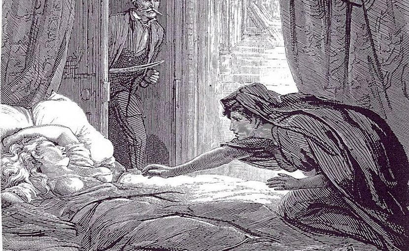 Illustration in Carmilla, Joseph Sheridan Le Fanu's vampire story. Author: David Henry Friston (1820–1906), Wikimedia Commons.