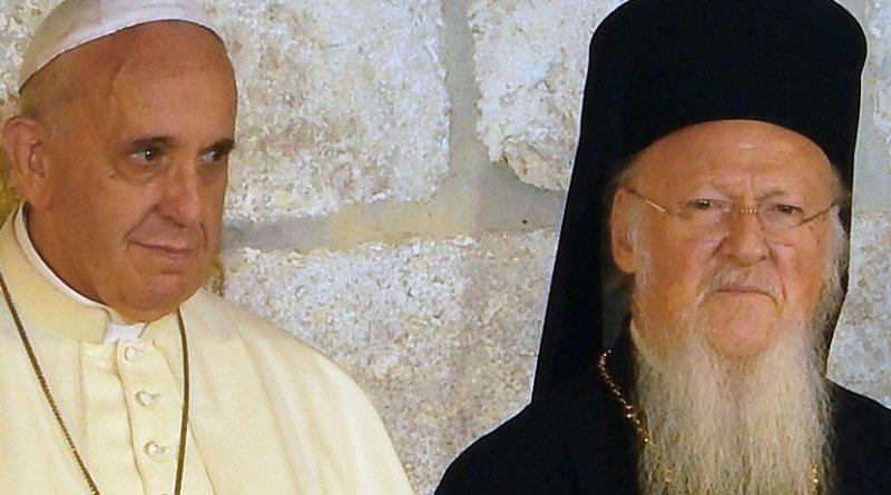 Pope Francis and Ecumenical Patriarch Bartholomew. Photo by Nir Hason, Wikimedia Commons.