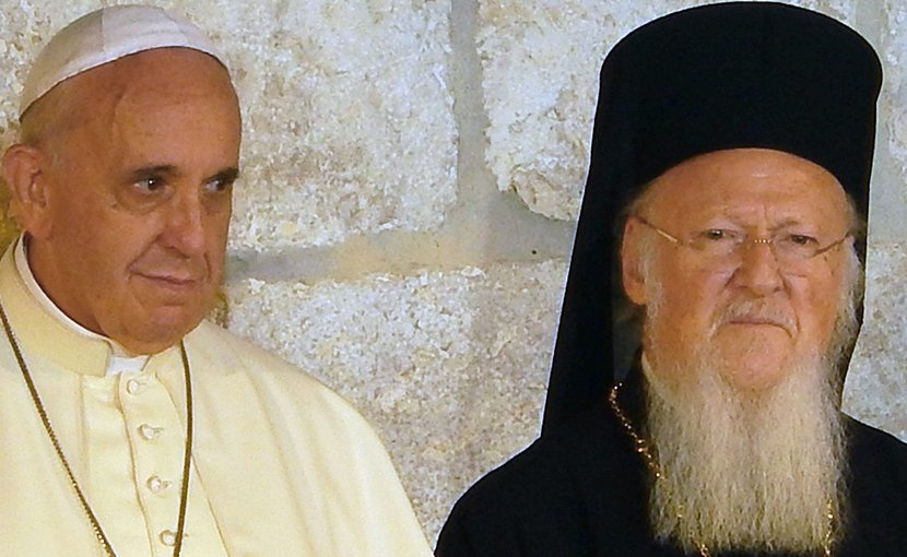 Pope Francis and Ecumenical Patriarch Bartholomew. Photo by Nir Hason, Wikimedia Commons.