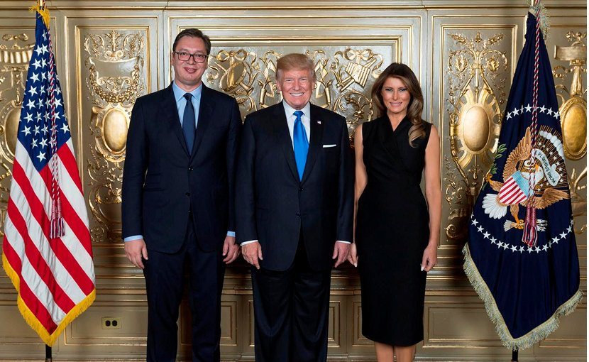Serbia's President with Vucic with US President Donald Trump and Melania Trump. Photo: Twitter/Aleksandar Vucic