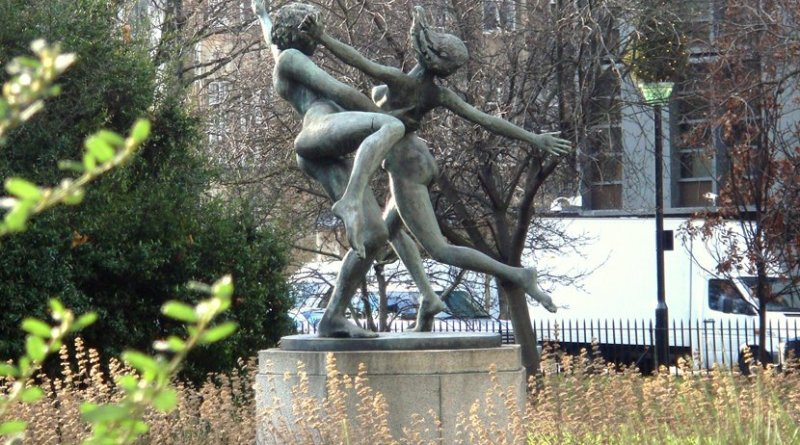 Statue in rundown garden in London, United Kingdom.