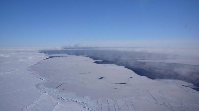 Aerial view of the polynya in the Southern Ocean. Credit Photo: Jan Lieser, ACE CRC, Australia