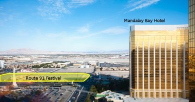 Photograph of Mandalay Bay Hotel and site of the Route 91 Festival, annotated with locations. Source: Work by Mliu92, Wikipedia Commons.
