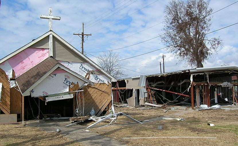 Damage to Church and building from Hurricane Ike at Sabine Pass, Texas. Photo by Junglecat, Wikipedia Commons.