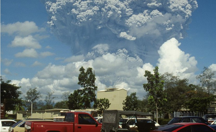 Mount Pinatubo in the Philippines erupting on June 12, 1991. A much larger eruption occurred three days later. Credit U.S. Geological Survey