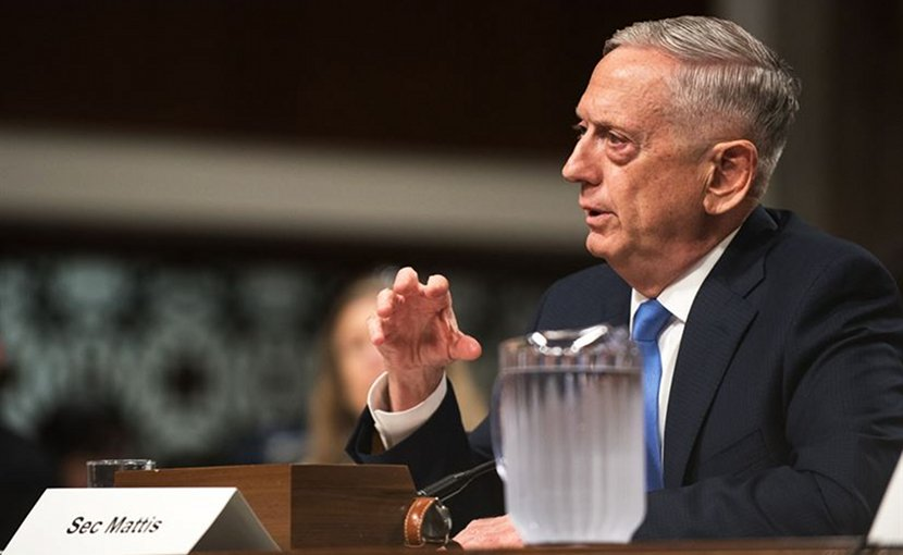 Defense Secretary Jim Mattis testifies during a Senate Armed Services Committee hearing in Washington, D.C., Oct. 3, 2017. Mattis testified alongside Marine Corps Gen. Joe Dunford, chairman of the Joint Chiefs of Staff, about the political and security situation in Afghanistan. DoD photo by Army Sgt. James K. McCann