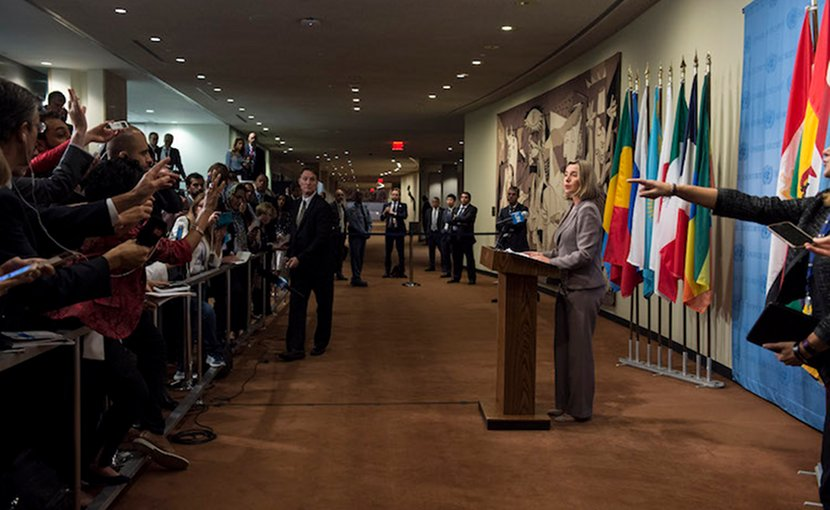 "Federica Mogherini, European Union High Representative for Foreign Affairs and Security Policy, speaks to journalists following meeting of the ""E3+3"" representatives with the Minister for Foreign Affairs of Iran. 20 September 2017. United Nations, New York. Credit: UN Photo/Kim Haughton."