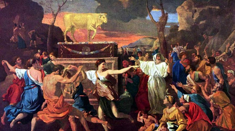 The Adoration of the Golden Calf by Nicolas Poussin. Source: Wikipedia Commons.
