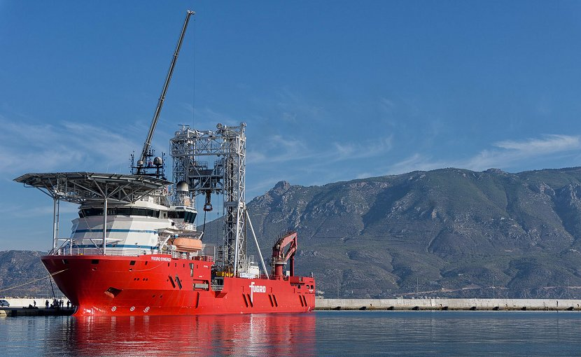 The Fugro Synergy in the port of Corinth Central Greece