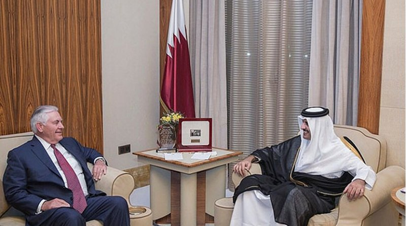 U.S. Secretary of State Rex Tillerson meets with HH the Emir Sheikh Tamim bin Hamad Al Thani of Qatar at the Sea Palace in Doha, Qatar on October 22, 2017. [State Department Photo/Public Domain]