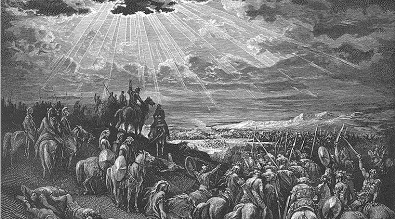 Joshua Commands the Sun to Stand Still (Josh. 10:12-14). Doré's English Bible, Wikipedia Commons.