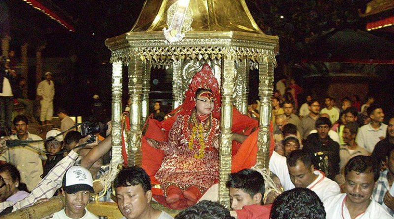 "Kumari, ""the living goddess,"" on the eve of the Indrajatra festival in Nepal. Photo by Manjari Shrestha, Wikimedia Commons."