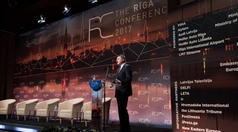 Latvian President Raimonds Vējonis speaking at the 2017 Riga Conference (Source: Valdis Kaulins, Rīga Conference 2017)