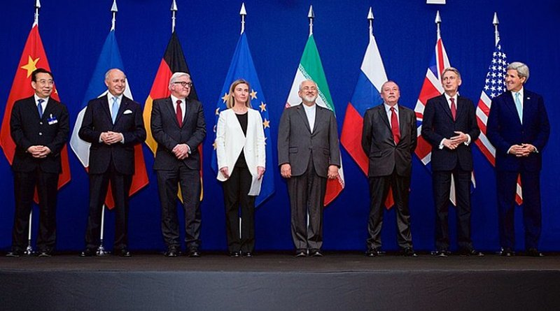 The ministers of foreign affairs of France, Germany, the European Union, Iran, the United Kingdom and the United States as well as Chinese and Russian diplomats announcing the framework for a Comprehensive agreement on the Iranian nuclear program (JCPOA) in Lausanne, 2 April 2015 Photo Credit: US State Department..