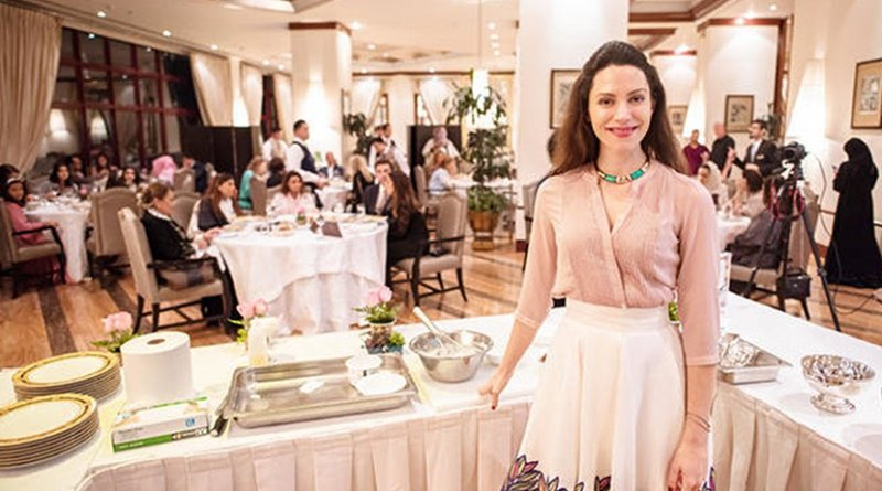 Celebrity chef Eleonora Galasso at at Aromi Restaurant in the Waldorf Astoria Hotel. Photo courtesy of jeddah College of Advertising, University of Business and Technology.