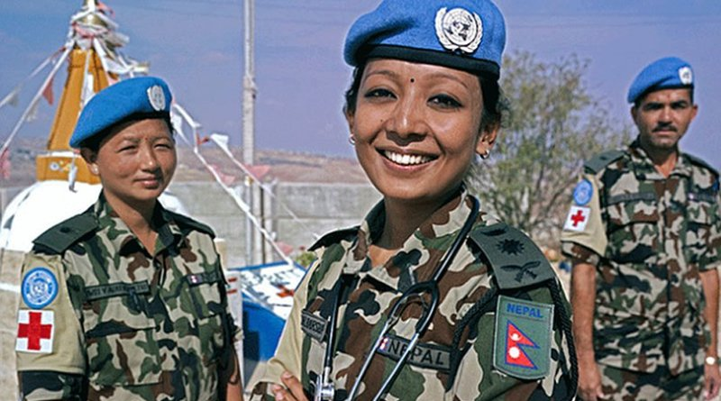 Cpt. Dr. Barsha Bajracharya photographed with two of her team mates at UN Post 8-30, near the town of Shakra, South Lebanon. Credit: UNIFIL/Pasqual Gorriz
