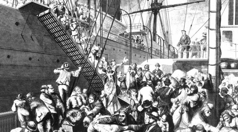 "From the Old to the New World"" shows German emigrants boarding a steamer in Hamburg, Germany, to come to America. Published in Harper's Weekly, (New York) November 7, 1874, WIkipedia Commons."