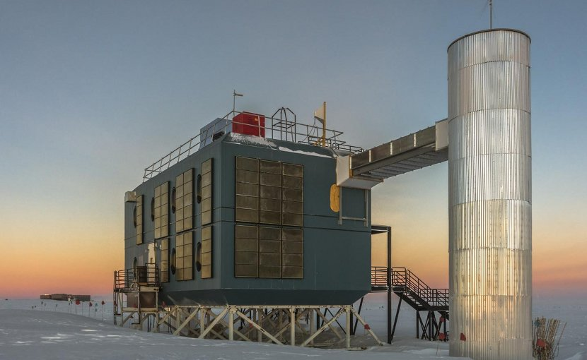 The IceCube Lab in March 2017, with the South Pole station in the background. Credit IceCube Collaboration