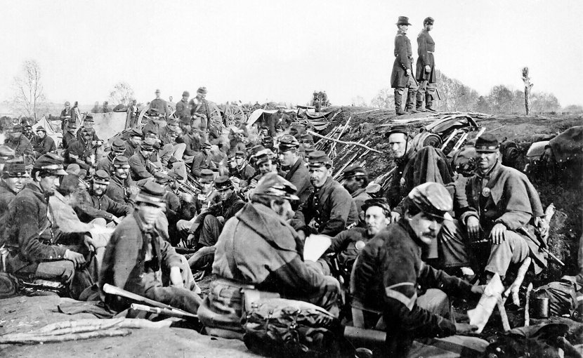 Union soldiers before Marye's Heights, Second Fredericksburg. Photo by A. J. Russell, Wikipedia Commons.