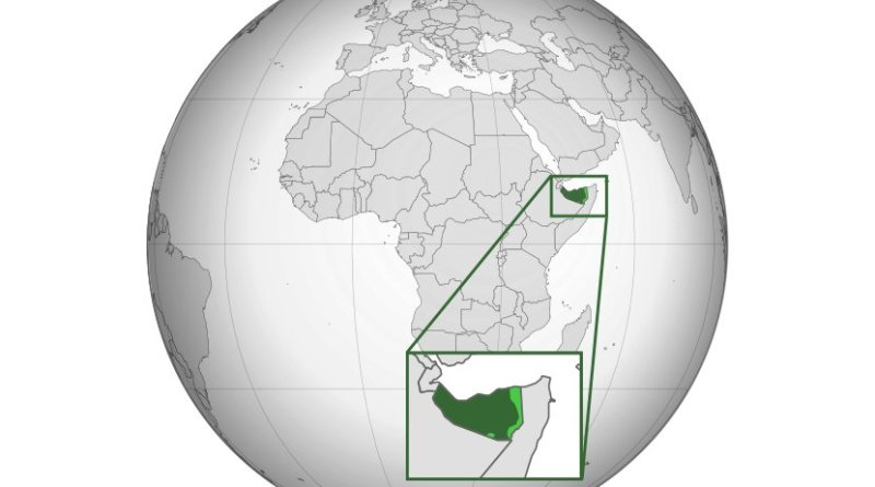 Somaliland (dark green), disputed territory (light green). Source: Wikipedia Commons.