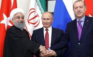 Russia's President Vladimir Putin meets with President of Iran Hassan Rouhani and President of Turkey Recep Tayyip Erdogan. Photo Credit: Kremlin.ru