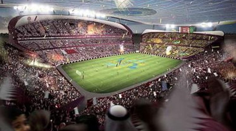 Artist's impression of the Lusail Iconic Stadium being built in Lusail, Qatar for 2022 World Cup. Source: Wikipedia Commons.
