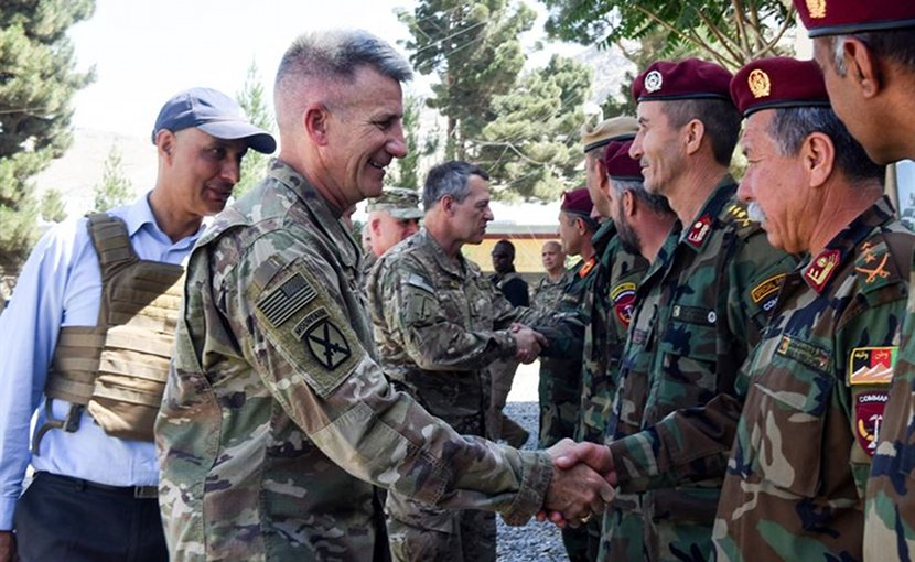 General John W. Nicholson, Resolute Support Mission commander, visited the Afghan National Army's New Commando School June 19 with a message of solidarity and brotherhood.