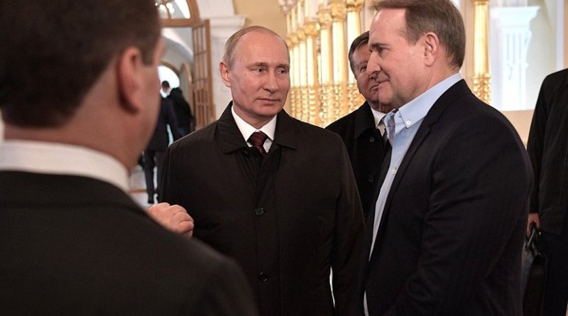 Russia's President Vladimir Putin's visit to the Voskresensky New Jerusalem Monastery with Leader of the Ukrainian Choice – People's Right movement Viktor Medvedchuk (right). Photo Credit: Kremlin.ru
