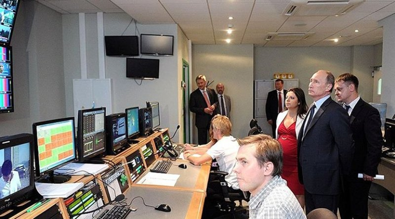 Vladimir Putin during a visit to the new RT broadcasting centre. Photo Credit: Kremlin.ru
