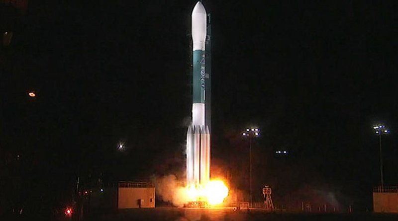 At Vandenberg Air Force Base's Space Launch Complex 2, the Delta II rocket engines roar to life. The 1:47 a.m. PST (4:47 a.m. EST), liftoff begins the Joint Polar Satellite System-1, or JPSS-1, mission. JPSS is the first in a series four next-generation environmental satellites in a collaborative program between NOAA and NASA. Credits: NASA