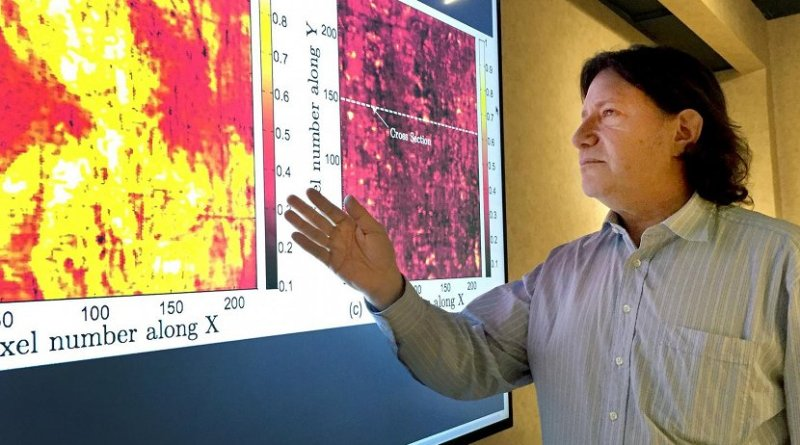 Georgia Tech professor David Citrin is shown with images produced by a terahertz imaging technique. Researchers studied a 17th century painting using a terahertz reflectometry technique to analyze individual paint layers. Credit John Toon, Georgia Tech
