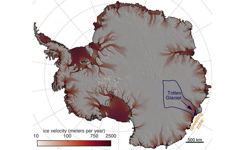 A new study led by the University of Texas Institute for Geophysics has found that wind over the ocean off the coast of East Antarctica causes warm, deep waters to upwell, circulate under Totten Ice Shelf, and melt the fringes of the East Antarctic ice sheet from below. Credit University of Texas Institute for Geophysics