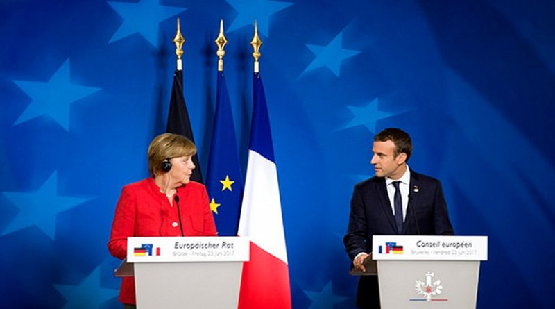 Germany's Angela Merkel and France's Emmanuel Macron. Photo Credit: European Council
