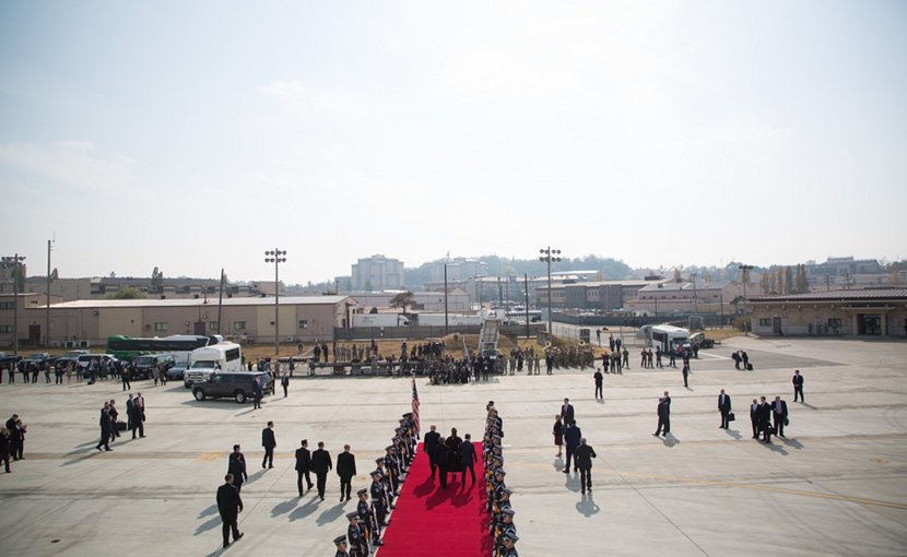 President Trump and the First Lady arriving in South Korea. Photo Credit: White House.