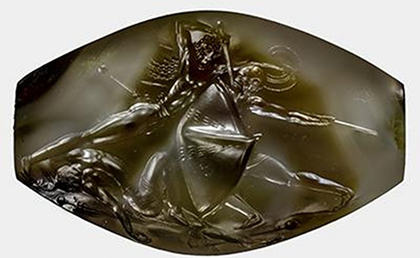 The tiny sealstone depicting warriors in battle measures just 1.4 inches across but contains incredible detail. Credit University of Cincinnati