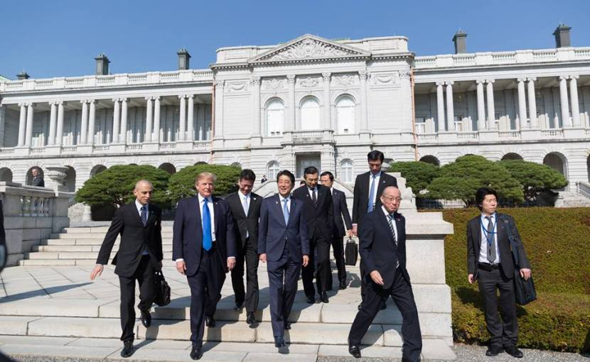 President Donald Trump with Japan's PM Shinzo Abe in Japan. Official White House Photo by Shealah Craighead.