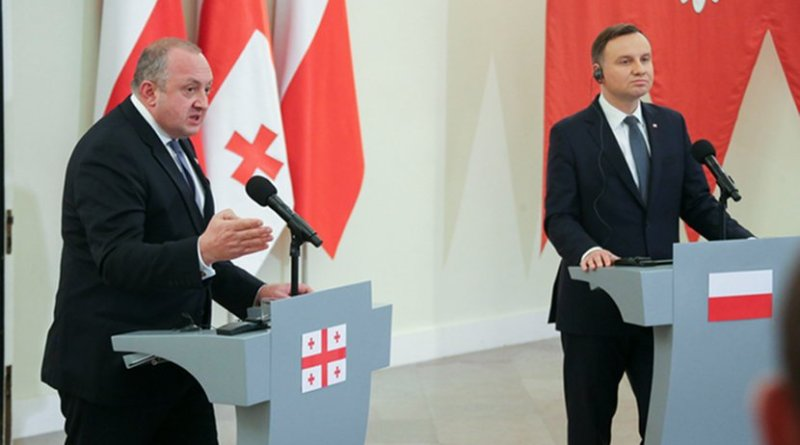 Georgia's Giorgi Margvelashvili and Poland's Andrzej Duda, Warsaw, November 8, 2017. Photo: president.gov.ge