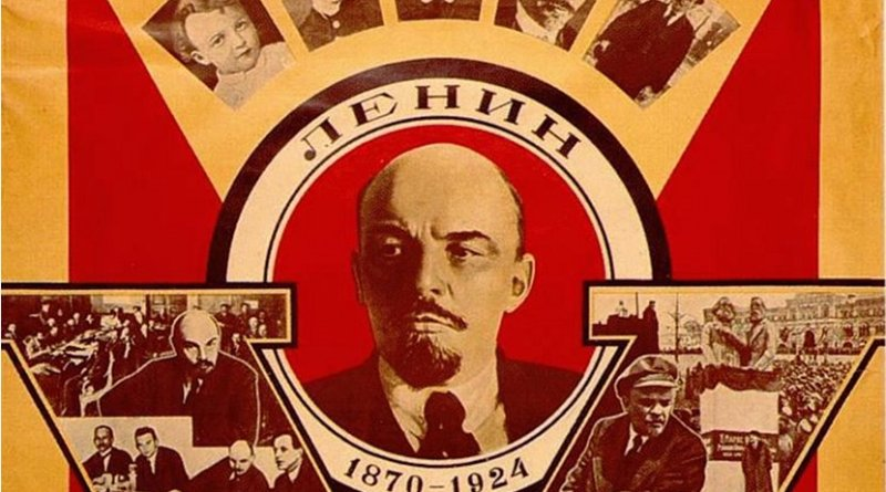 A Soviet propaganda poster featuring Vladimir Lenin (1870-1924), published on the fifth anniversary of his death in 1929. Source: Wikipedia Commons.