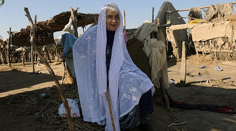 n this picture taken on Dec. 2, 2010 Sister Ruth Pfau, head of a Pakistani charity fighting leprosy and blindness, visits flood-affected Begna village in southern Pakistan's Jati town. Photo via UCAN.